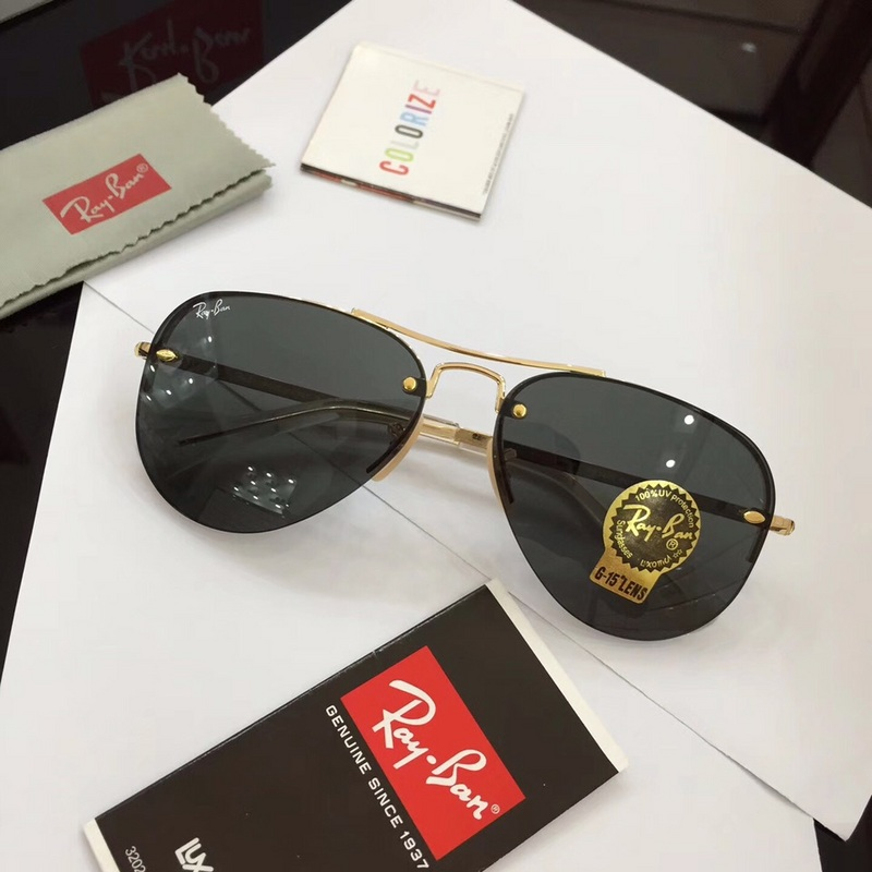 0722a6b3e8 Ray Ban RB3449 Sunglasses Black Lenses Gold Frame.