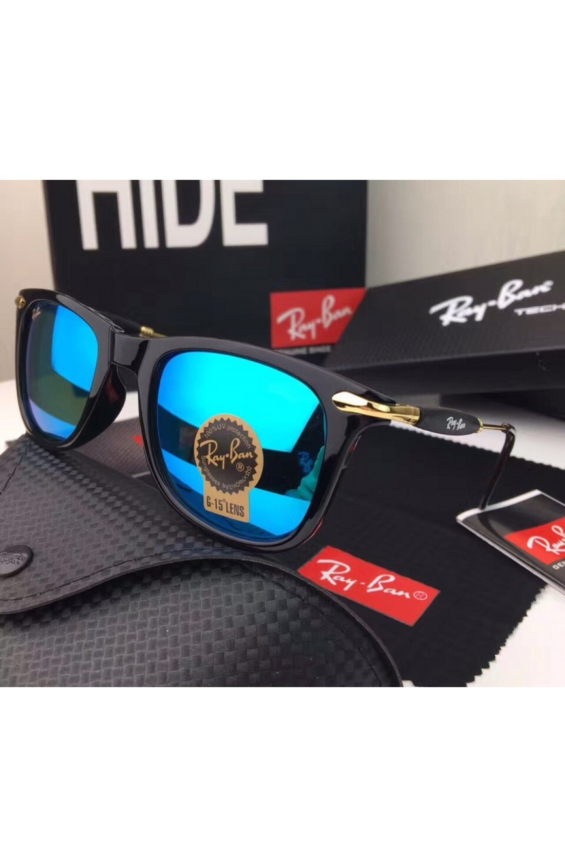 a32d2ccdbe Warehouse Sale Men s Women s Ray Ban RB2148 Sunglasses Blue Lenses Black  Frame