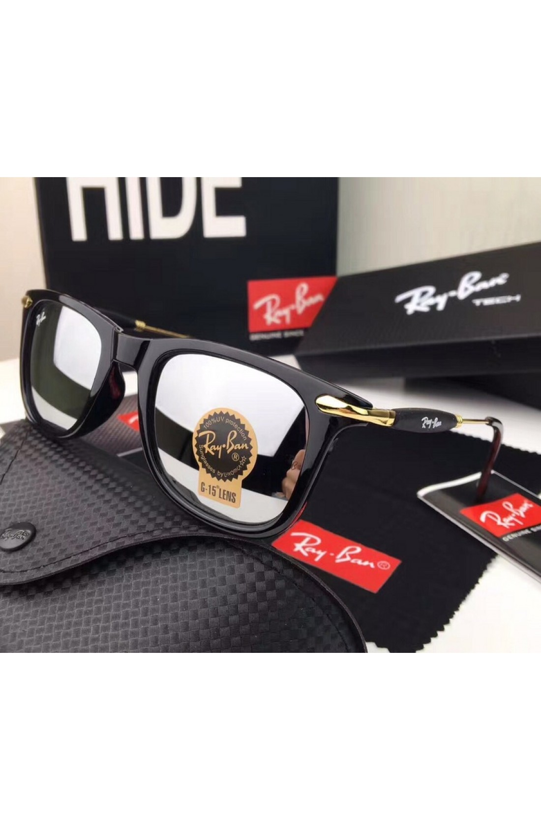 db090dc135 Clearance Sale Men s Women s Ray Ban RB2148 Sunglasses Silver Lenses Black  Frame