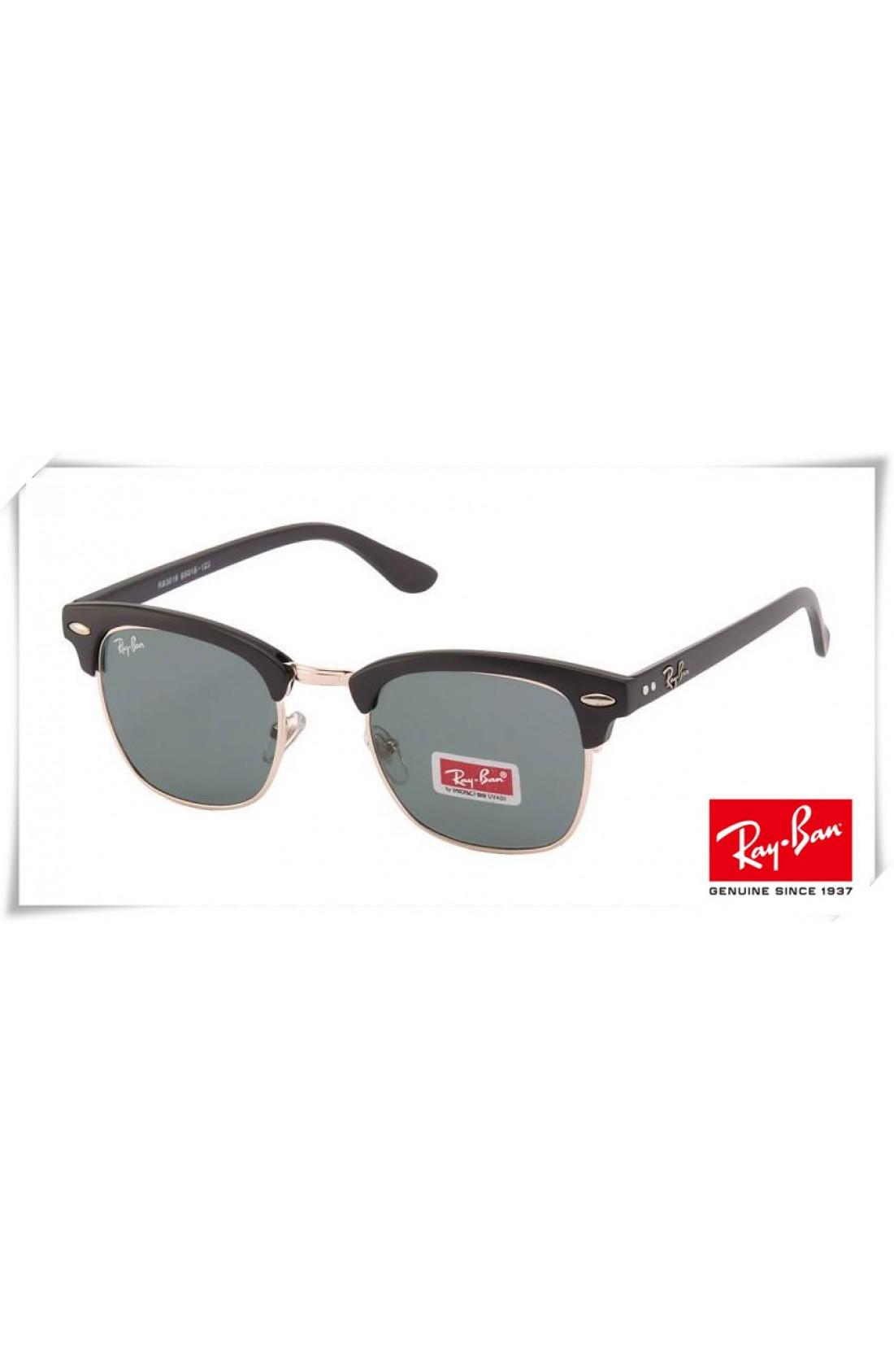 c5b499bcd16b8 Cheap Fake Ray Ban RB3016 Classic Clubmaster Sunglasses Black Gold ...