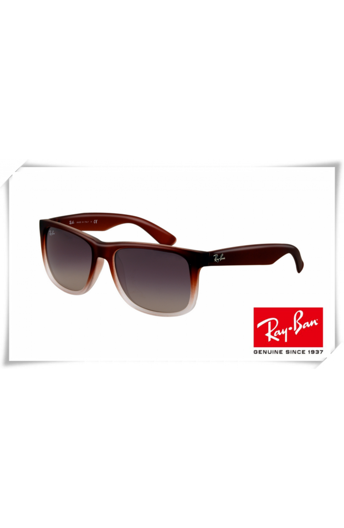93a283a74d0e3 Cheap Fake Ray Ban RB4165 Justin Sunglasses Rubber Brown Gradient ...