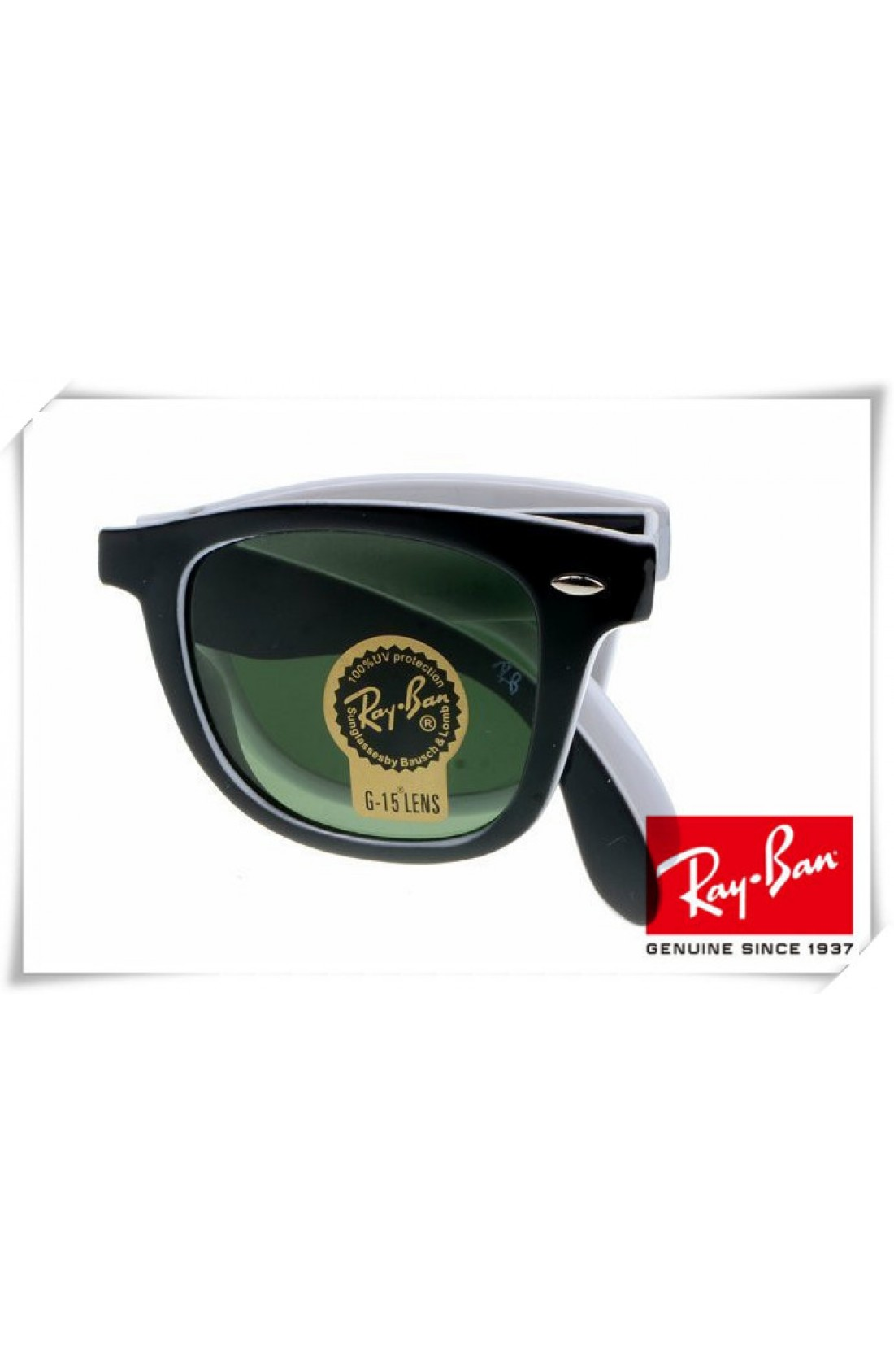 044163159d Cheap Ray Ban RB4105 Folding Wayfarer Sunglasses Black White Frame ...