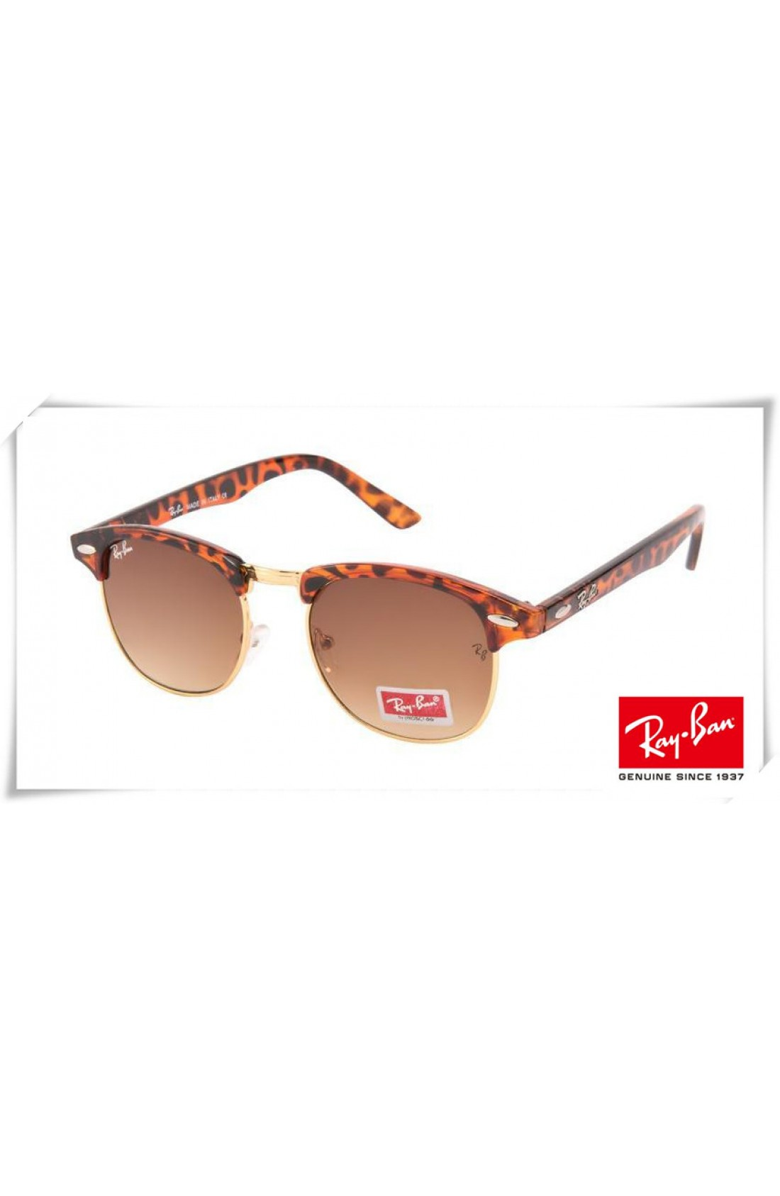 74180b21a978b Fake Ray Ban RB3016 Classic Clubmaster Sunglasses Tortoise Brown Red ...