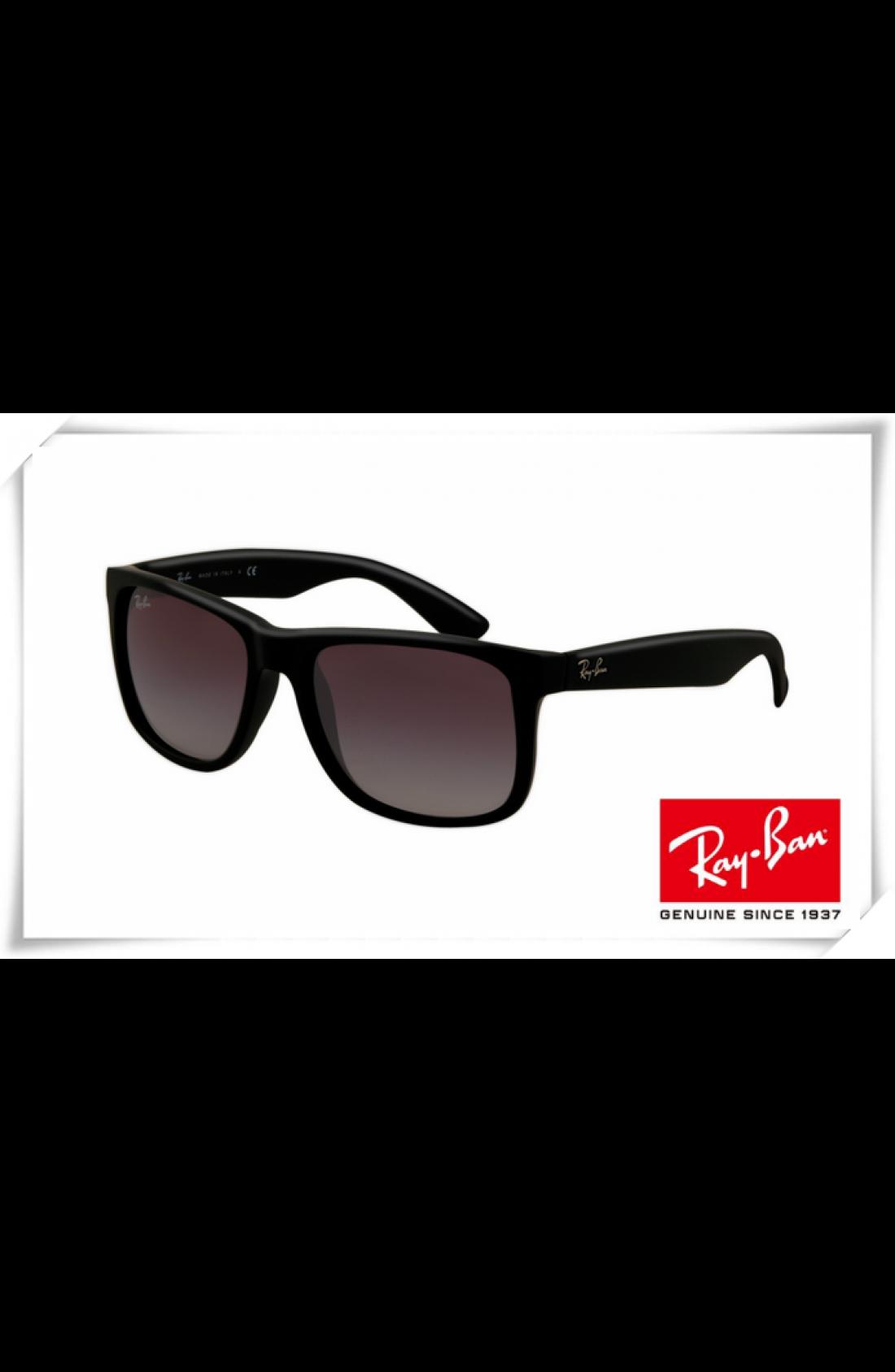 bc22cf08c3 Fake Ray Ban RB4165 Justin Sunglasses Shiny Black Frame Purple ...