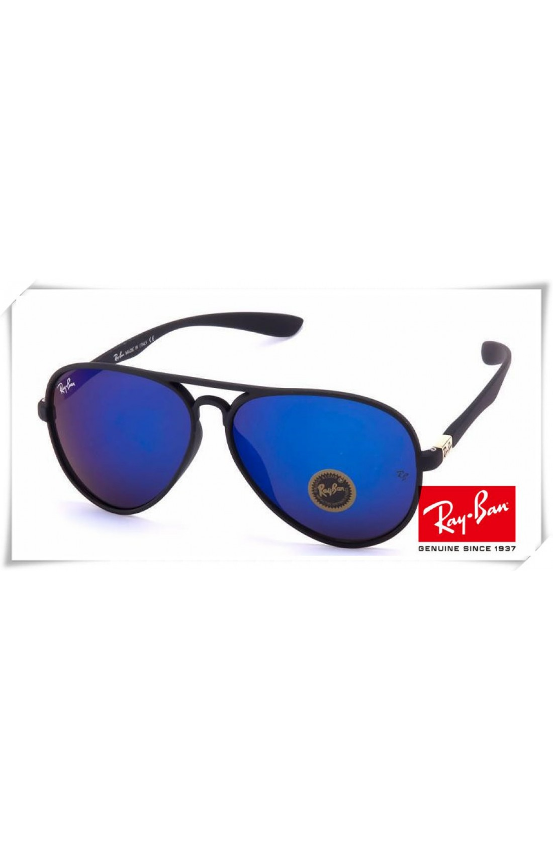 Fake Ray Ban RB4180 Aviator Sunglasses Black Frame Blue Mirror Lens ...