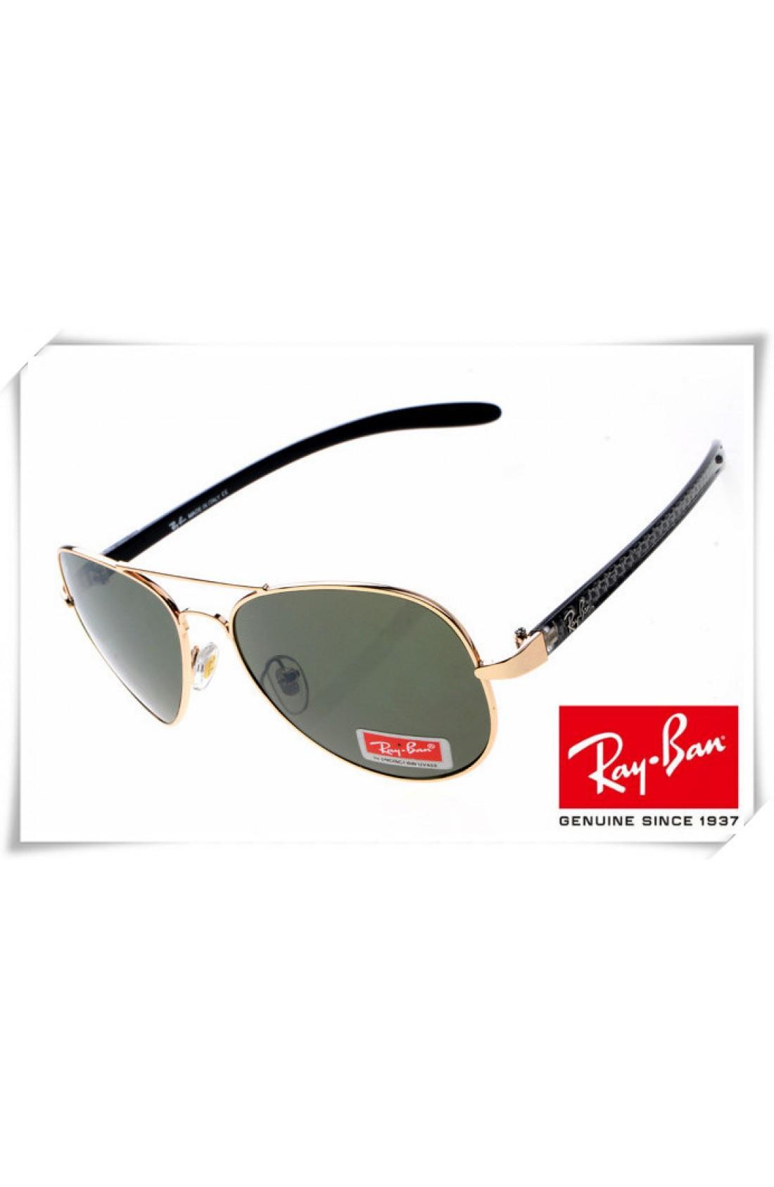 d316f2582 Fake Ray Ban RB8307 Aviator Tech Sunglasses Carbon Fibre Gold Black ...