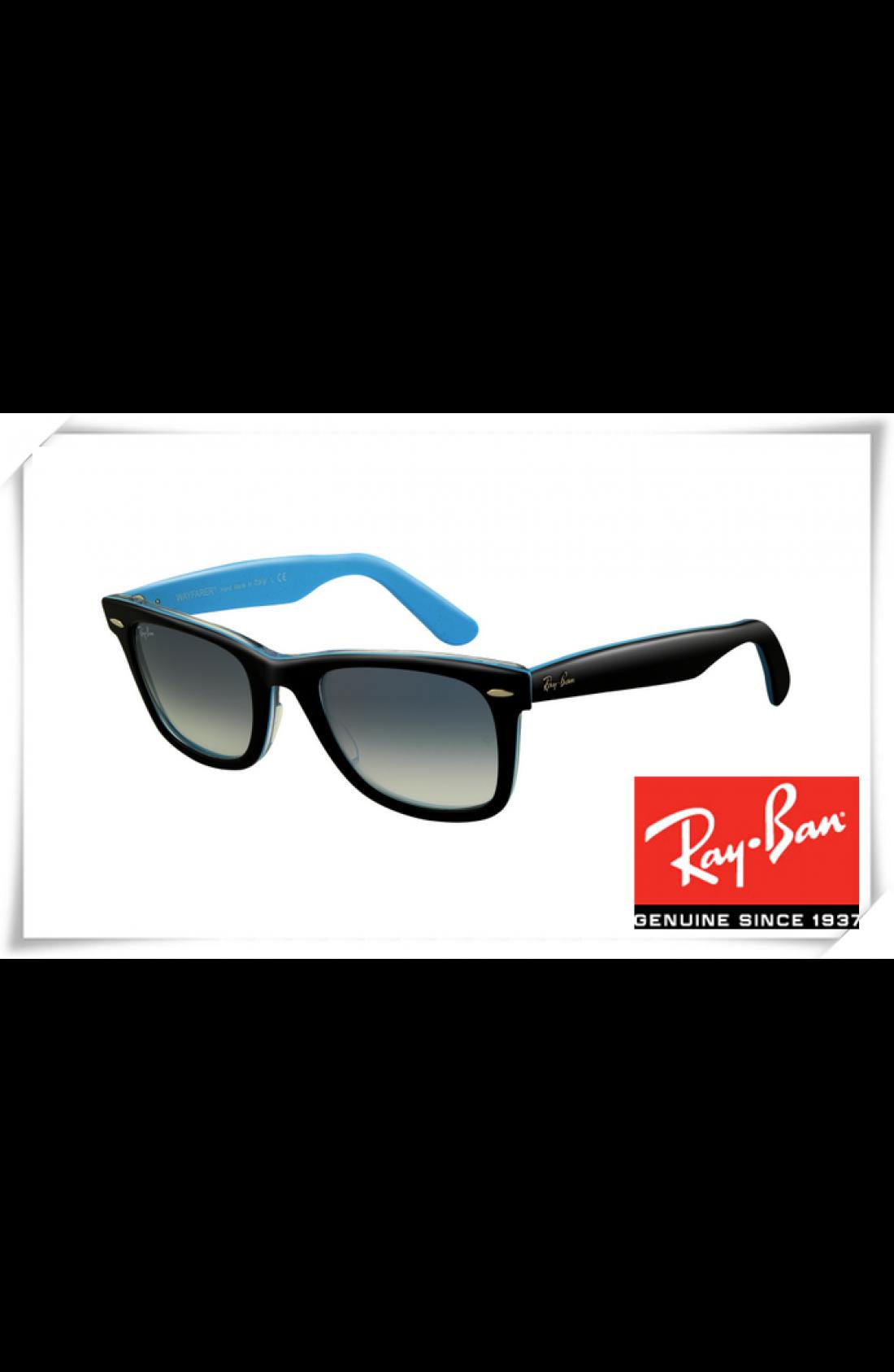 a00bed24ea Replica Ray Ban RB2140 Original Wayfarer Sunglasses Top Black Blue ...