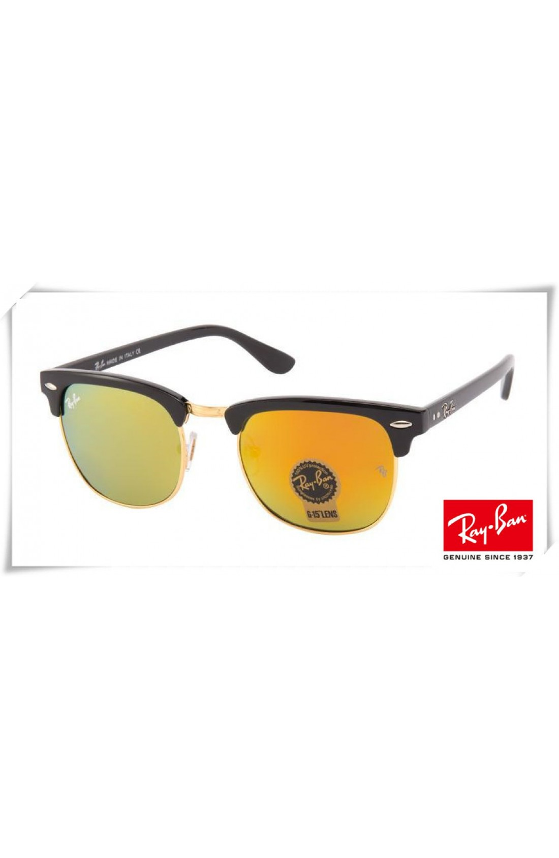 54279fcb13904 Replica Ray Ban RB3016 Classic Clubmaster Sunglasses Black Frame ...