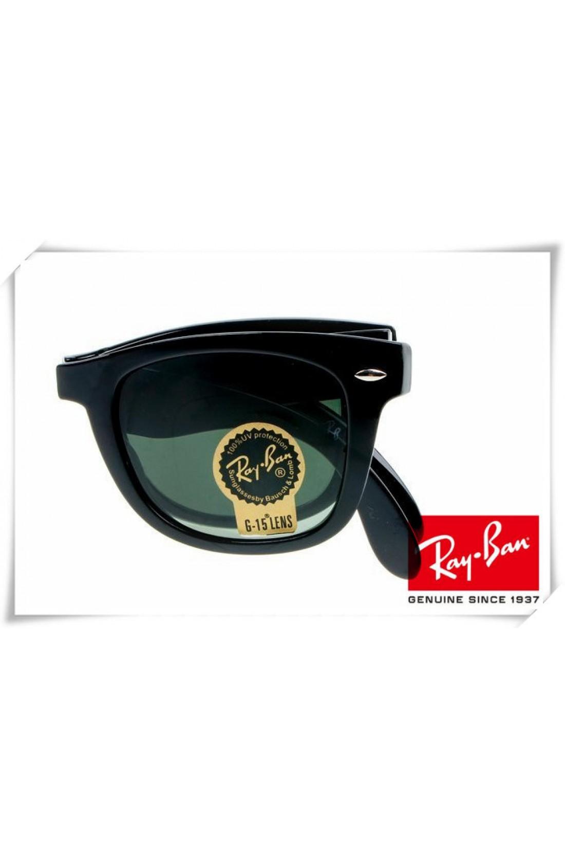 6f54305b3f Replica Ray Ban RB4105 Folding Wayfarer Sunglasses Black Frame Green ...