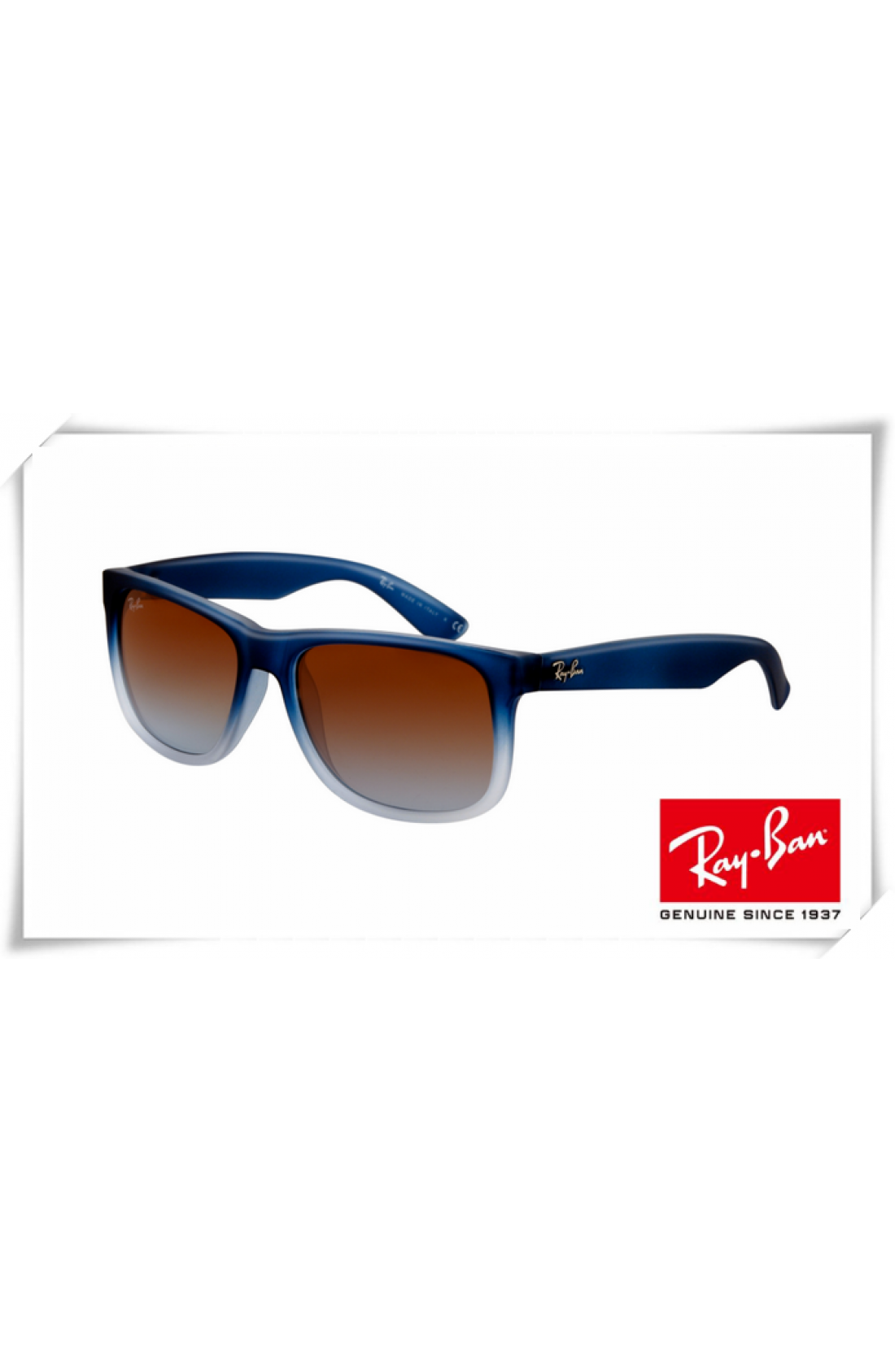 aead1df862 Replica Ray Ban RB4165 Justin Sunglasses Rubber Gradient Blue Frame ...
