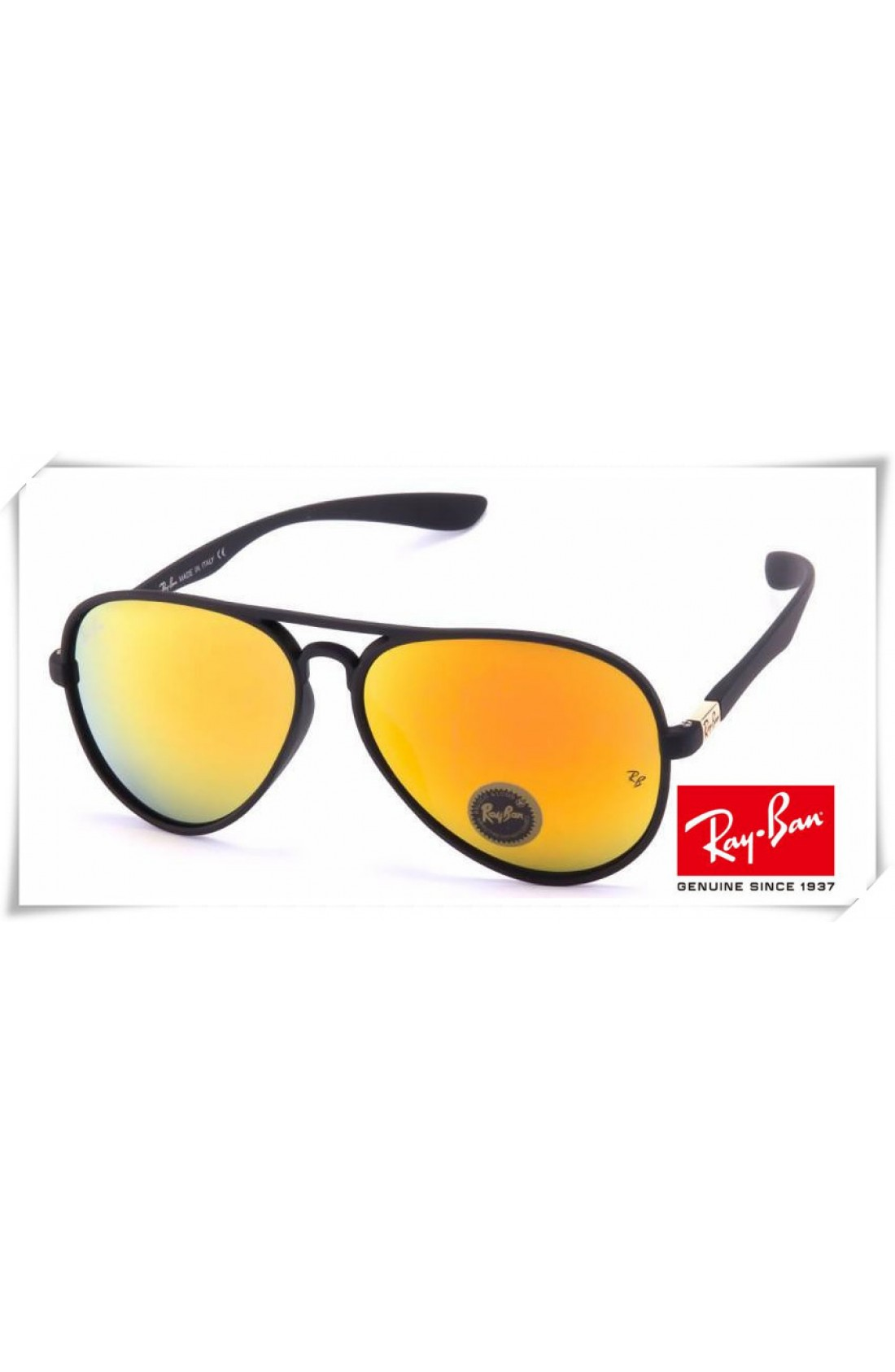 2b770937d13 Replica Ray Ban RB4180 Aviator Sunglasses Black Frame Yellow Mirror ...