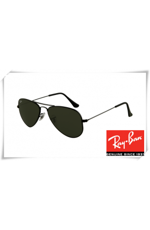 a53f782d679 Ray Ban RB3044 Aviator Small Metal Sunglasses Black Frame Crystal Deep Green  Lens