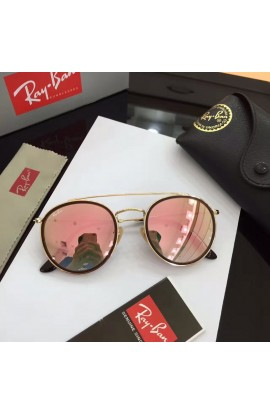 a8660e9211 Ray Ban RB3647 Sunglasses Pink Lenses Gold Frame