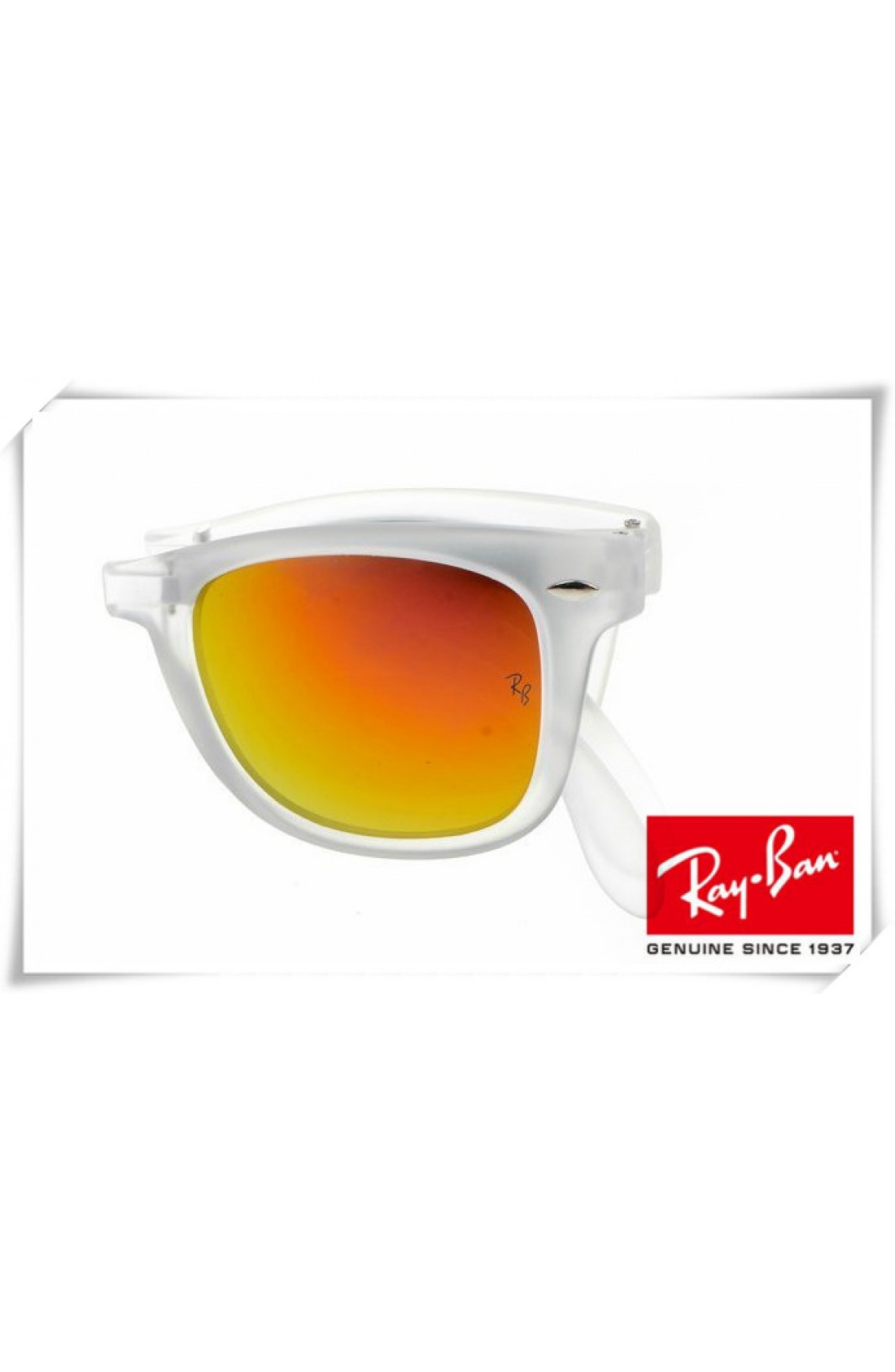 39b7e3bdb50 Fake Ray Ban RB4105 Folding Wayfarer Sunglasses Transparent Frame ...