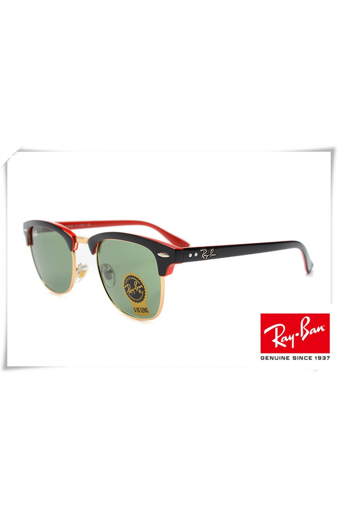 060c863423be6 Replica Ray Ban RB3016 Classic Clubmaster Sunglasses Black Red Frame ...